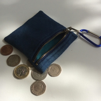Denim, zipped key ring purse, coin purse, credit card purse