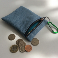 Light blue, denim, zipped key ring purse, coin purse, credit card purse