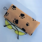 Glasses, sunglasses soft case, caramel with black paws