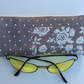 Glasses, sunglasses soft case, light grey, hearts and roses, cream back