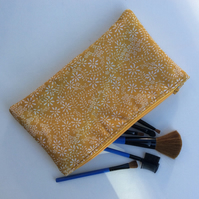 Make up Bag, white floral on mustard yellow