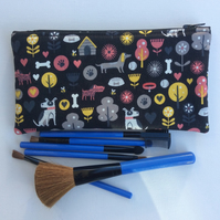 Make up bag,  pencil case, dogs on black background
