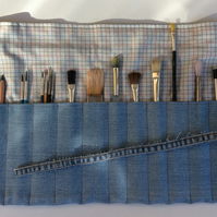 Artist's Storage Roll, recycled denim