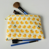 Make up bag, cosmetics bag, yellow duck fabric