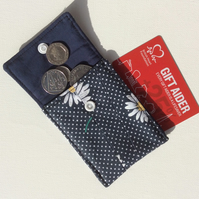 Small Coin Purse, pouch, navy blue cotton, with white daisies and white dots.