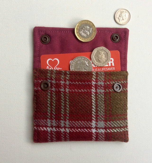 Coin Purse, credit card wallet, wool tartan