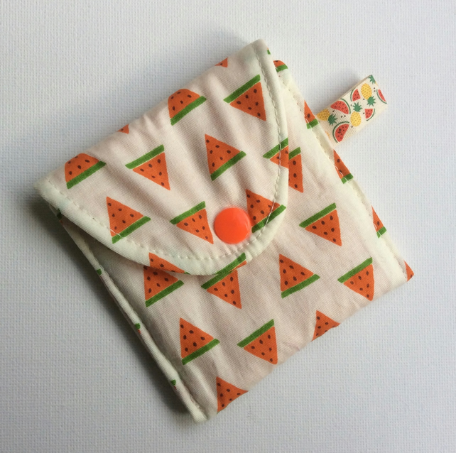 Small Coin Purse, cream cotton, watermelon pattern