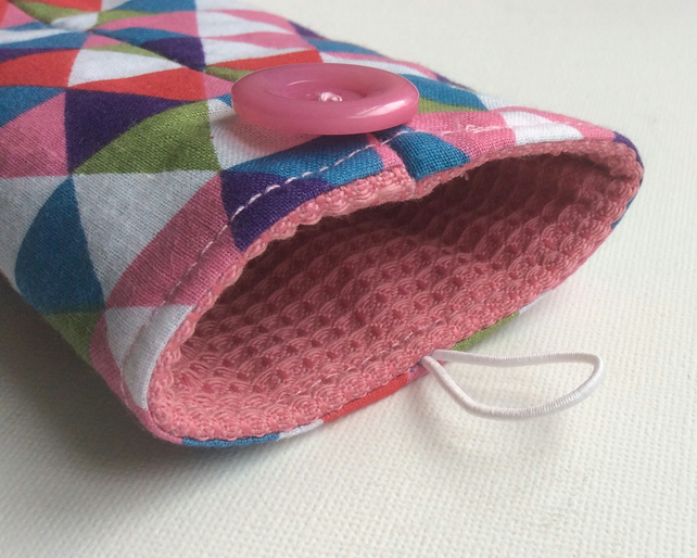 Glasses case, sunglasses case, mosaic triangles, pink lining