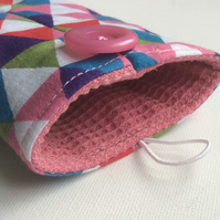Glasses case, sunglasses case, triangles, pink lining