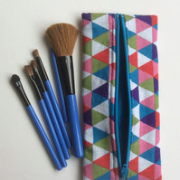 Make up bag, make up brush case, mosaic  triangles, turquoise lining