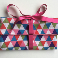 Jewellery wrap, jewellery roll, storage  case, triangles, pink lining