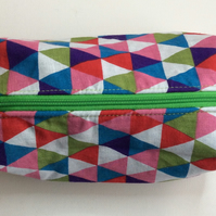 Boxy Make up bag, make up brush case, mosaic triangles,