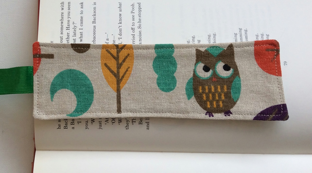 Fabric bookmark, owl with tree