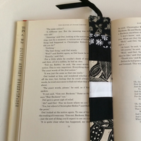 Fabric bookmark, black and white patchwork