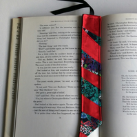 Fabric bookmark, red satin and floral patchwork