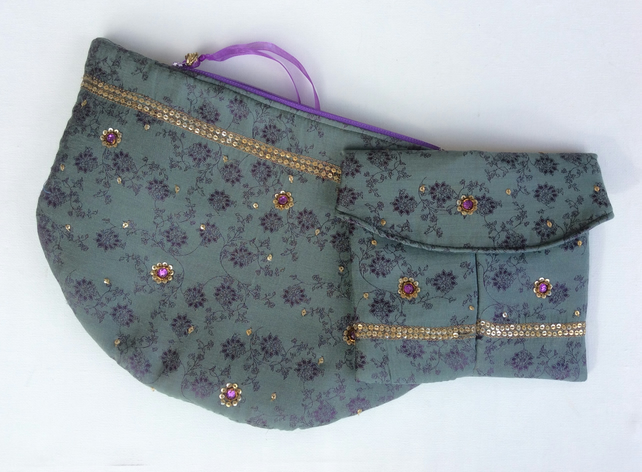 Evening, wedding, clutch bag and pouch, grey-green, purple, gold sequins