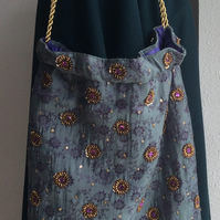 Evening, wedding, shoulder bag, drawstring bag, grey-green, purple, gold sequins