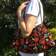 Evening, wedding, shoulder bag, black with red and cream flowers