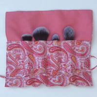 Make-up Brush Storage Roll, pink paisley