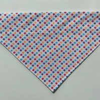Over  the collar medium dog bandana, spotty fabric.