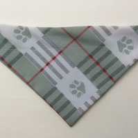 Reversible, over the collar bandana for small dog, sage green