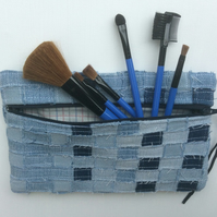 Zipped recycled, woven denim make up bag or pencil case