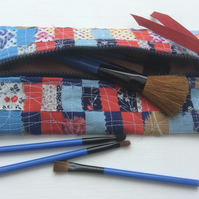 Zipped recycled, woven fabric make up bag or pencil case