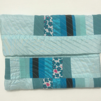 Clutch, Handbag, Freestyle Patchwork Quilting, Shades of turquoise