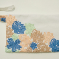 Large off white zipped clutch, wristlet bag, lace flowers, special occasion