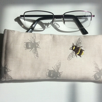 Glasses, sunglasses, soft case, bee fabric with a hand embroidered bee.