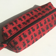 Pencil Case, Pencils, Paintbrushes, Make up, red with black cat pattern