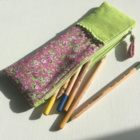 Zipped bag, make up bag, pencil case, vibrant lime green and pink