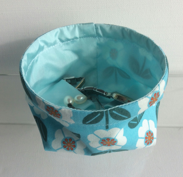 Trinket basket, bowl, fabric, multi purpose storage, flowers on turquoise