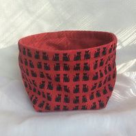 Medium fabric basket, bowl, multi purpose storage, black cats on red