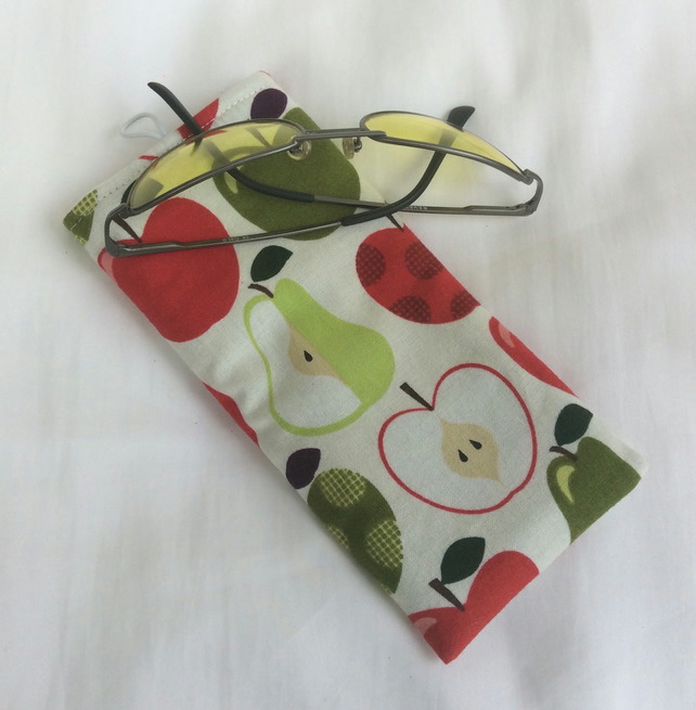 Glasses case, sunglasses soft case, apples and pears on off white