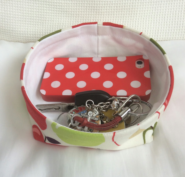 Key basket, bowl, fabric, multi purpose storage, large apples and pears on cream