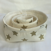 Set of three fabric bowls, baskets, multi purpose storage, gold stars on cream