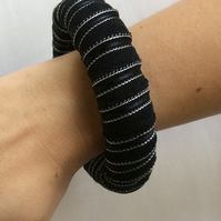Bangle, bracelet, fabric wrapped, slip on, black and silver