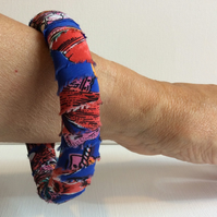 Bangle, bracelet, fabric wrapped, slip on, blue, red, multicoloured