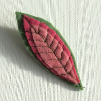 Apple Leaf Brooch, Badge, Felt