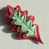 Oak Leaf Brooch, Felt