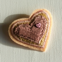 Heart  brooch, shades of pink and apricot, felt and velvet