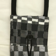 Monochrome, recycled, woven shoulder bag, satchel