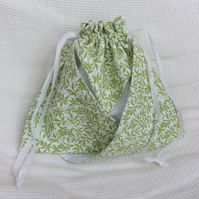 Drawstring bag, make up bag, toiletries, craft project bag, craft storage
