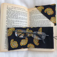 Black and Yellow Glasses Case and matching corner book mark