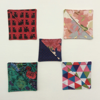 Square, fabric bookmarks, over the corner bookmarks