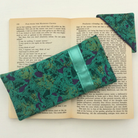 Green with purple, Glasses Case and matching corner book mark