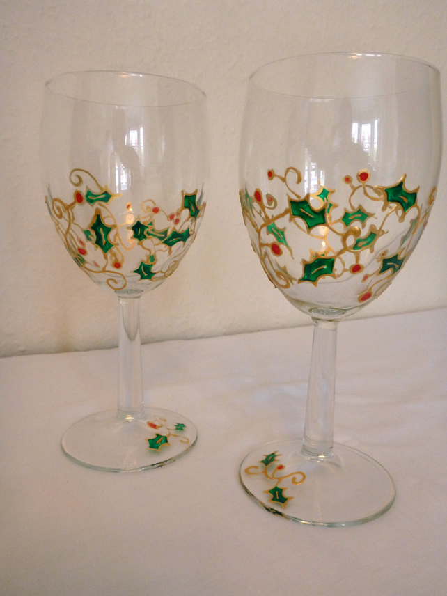hand painted christmas wine glasses holly and folksy
