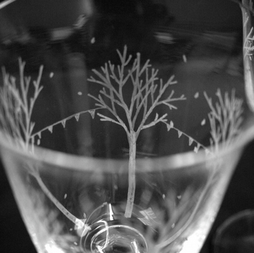 Pair of Autumnal Wine Glasses - Hand Engraved Bohemia Crystal