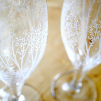 Pair Of Dartington Crystal Blossom Tree Glasses, Hand Engraved Glassware